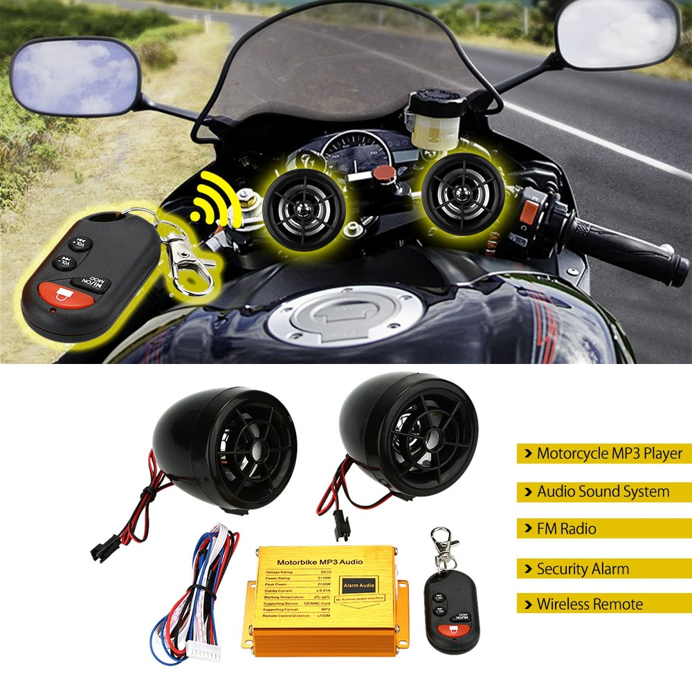US-Stock-Motorcycle-moto-MP3-Player-Speakers-Audio-Sound-System-FM-Radio-Security-Alarm-Wireless-Remote