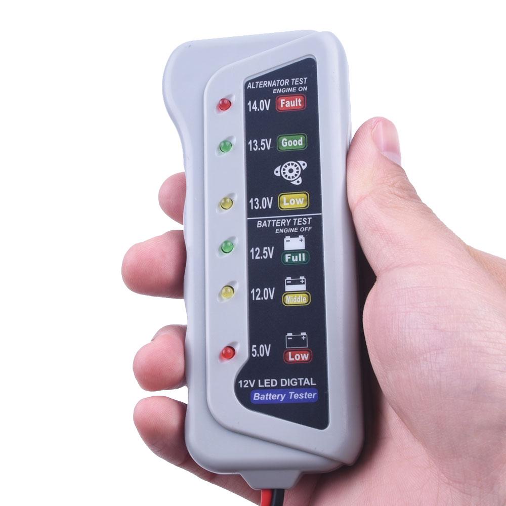 12-V-Bater-a-de-Coche-Auto-Alternador-Tester-con-6-Pantalla-LED-Luces-De-Prueba